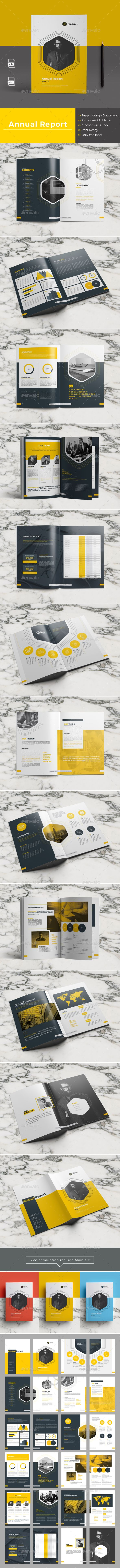 Annual Report - Brochure Template InDesign INDD - 24 Pages, A4 & US Letter Size