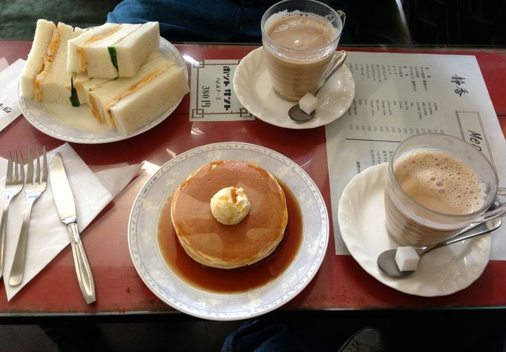 pancake, sandwich and milk coffee