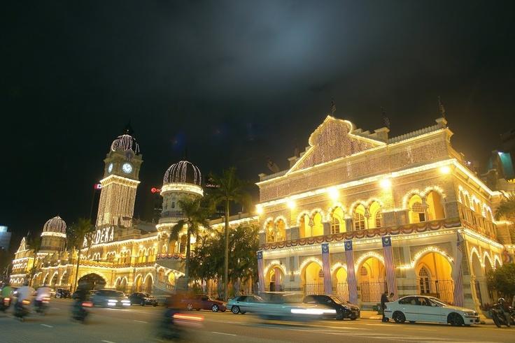 Merdeka Square lighted up at night in Kuala Lumpur
