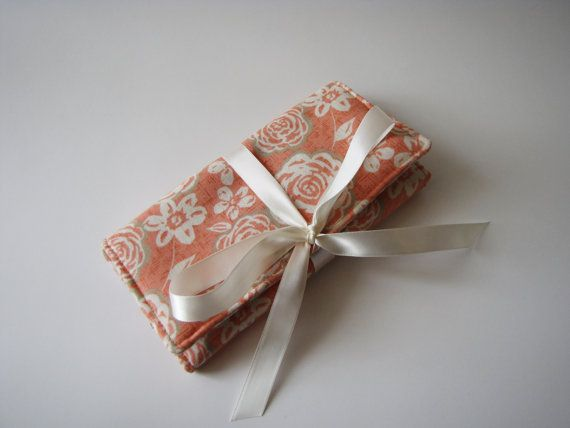 Beautiful travel jewelry roll in coral/orange colors. Perfect gift for bridesmaids, friends, teachers and colleagues.