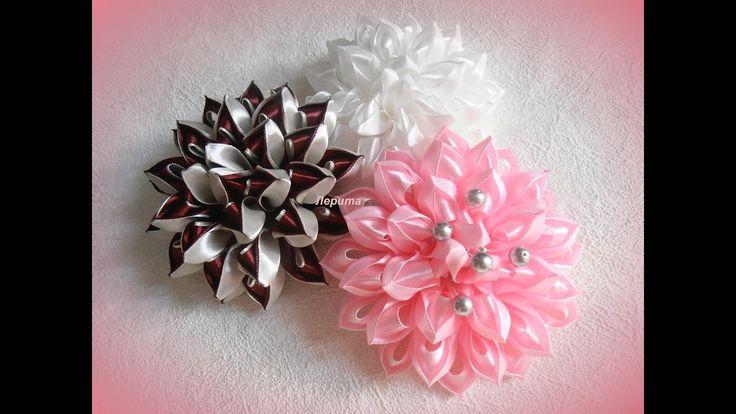 """Воздушные цветы канзаши из ленты 2,5 см, мастер класс, лепесток """"воздушный"""""""