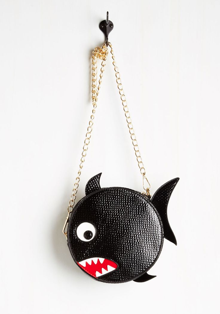 Piranha Your Request Bag. If youre asking to add a bit of bite to your getup, this glossy, textured bag from Spanish brand Kling is guaranteed to deliver! #black #modcloth