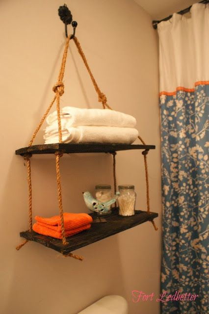 DIY bathroom rope shelf