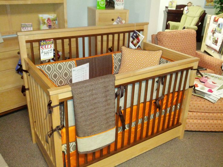 Orange Brown And Tan Custom Bedding On Display At Kids N Cribs In Brentwood