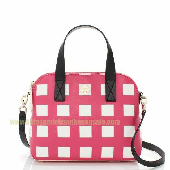 Kate Spade Checker Place Maise Pink Cream Free Shipping $93.50-katespadehandbagonsale.com