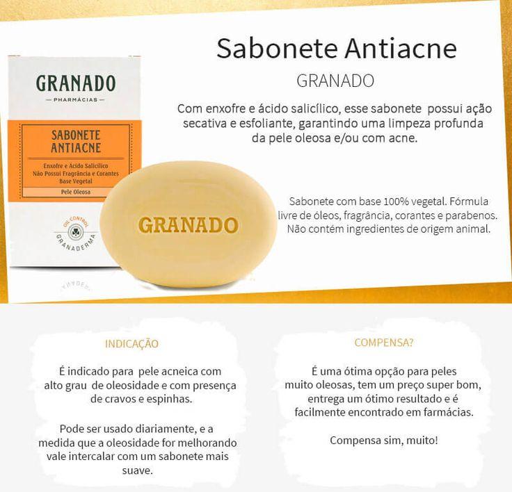 O Sabonete Antiacne Granado, com enxofre e ácido salicílico, é a melhor opção de sabonete bom e barato para peles muito oleosas e com espinhas!