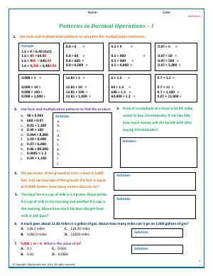 worksheet  patterns in decimal operations  i  use multiplication  worksheet  patterns in decimal operations  i  use multiplication patterns  to find the products of decimals practice your decimal multiplication  skills