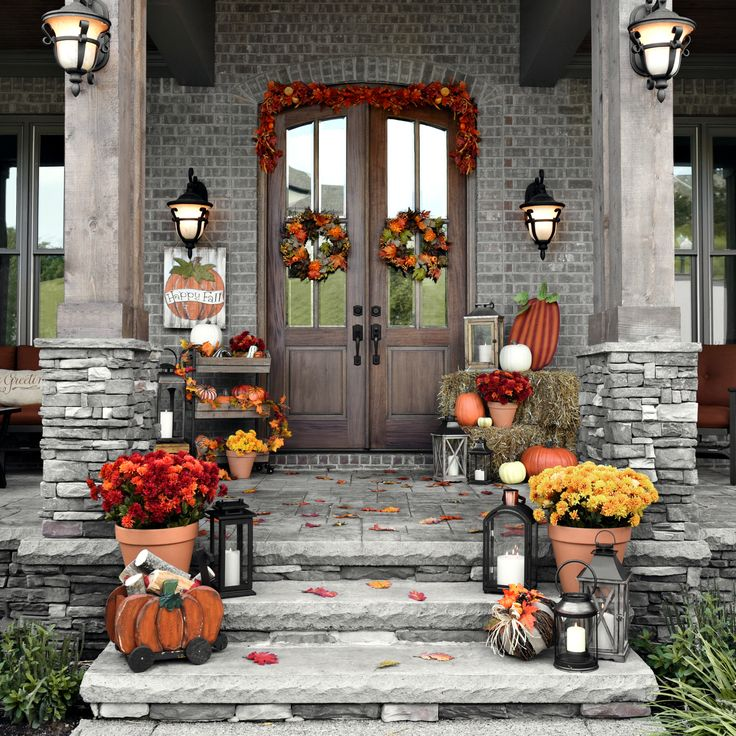 Create a front porch that will have all your neighbors talking with our Fall Decor. Don't worry about finding the perfect items that match - we've done it for you! Pair rustic lanterns with bright wreaths and festive pumpkins. Your guests will feel the warm welcome immediately when they arrive!