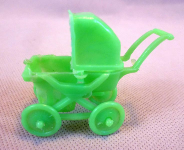 Vintage Dolls House Small Scale Green Soft Plastic Pram - Hong Kong | eBay