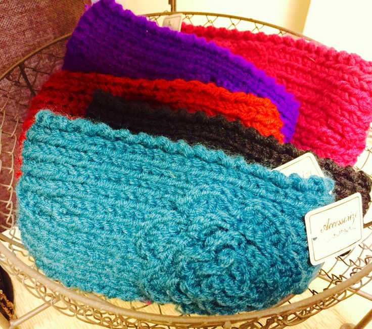 Knit flower head wrap winter headbands in turquoise, purple, red, black, pink and more - A Plus Gift Shop