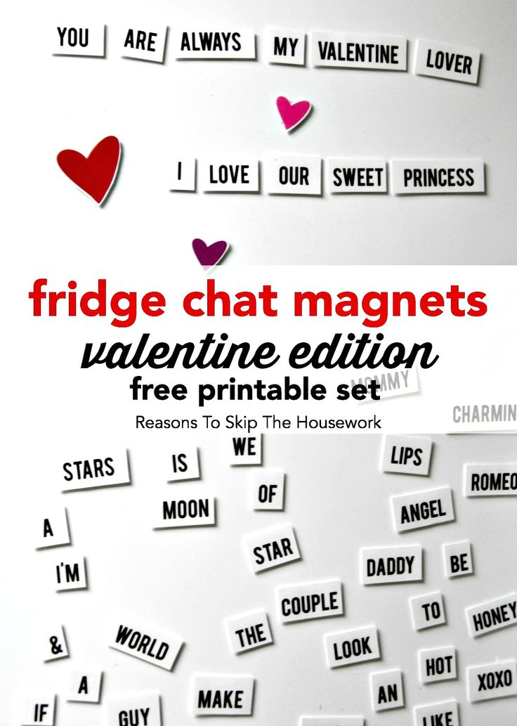 Fridge Chat Magnets - Valentine's Edition - just print off and add magnets for your own fun game on the fridge or magnetic whiteboard.