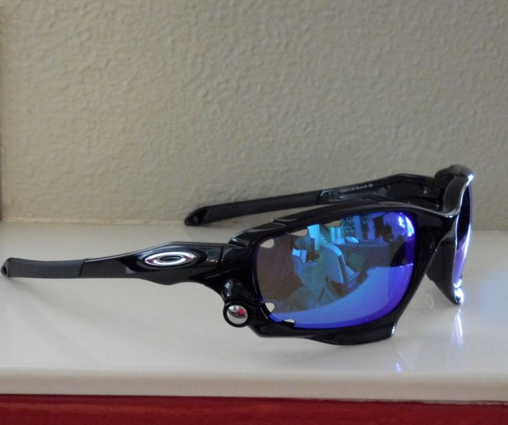 oakley racing jacket polarized sunglasses  new oakley racing jacket polarized sunglasses polished black / blue vented lens