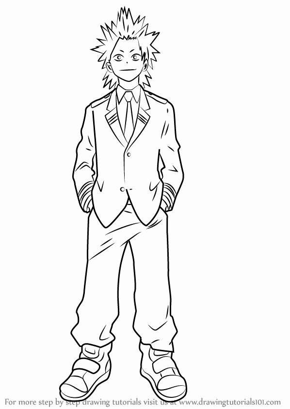 My Hero Academia Coloring Page Awesome Learn How To Draw Eijirou Kirishima From Boku No Hero Hero Poster My Hero Academia Episodes Anime Character Drawing
