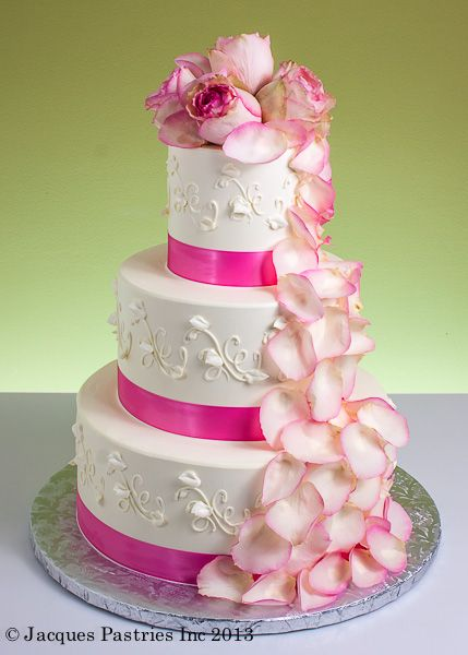 Instead of pink, do blue or green edged roses. Dots instead of scrollwork
