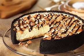 Creamy cheesecake. <b>Oreo</b> Cookie crust. Chocolate-caramel drizzle. A dash of pecans. Be sure to save yourself a piece, because this is gonna go fast.
