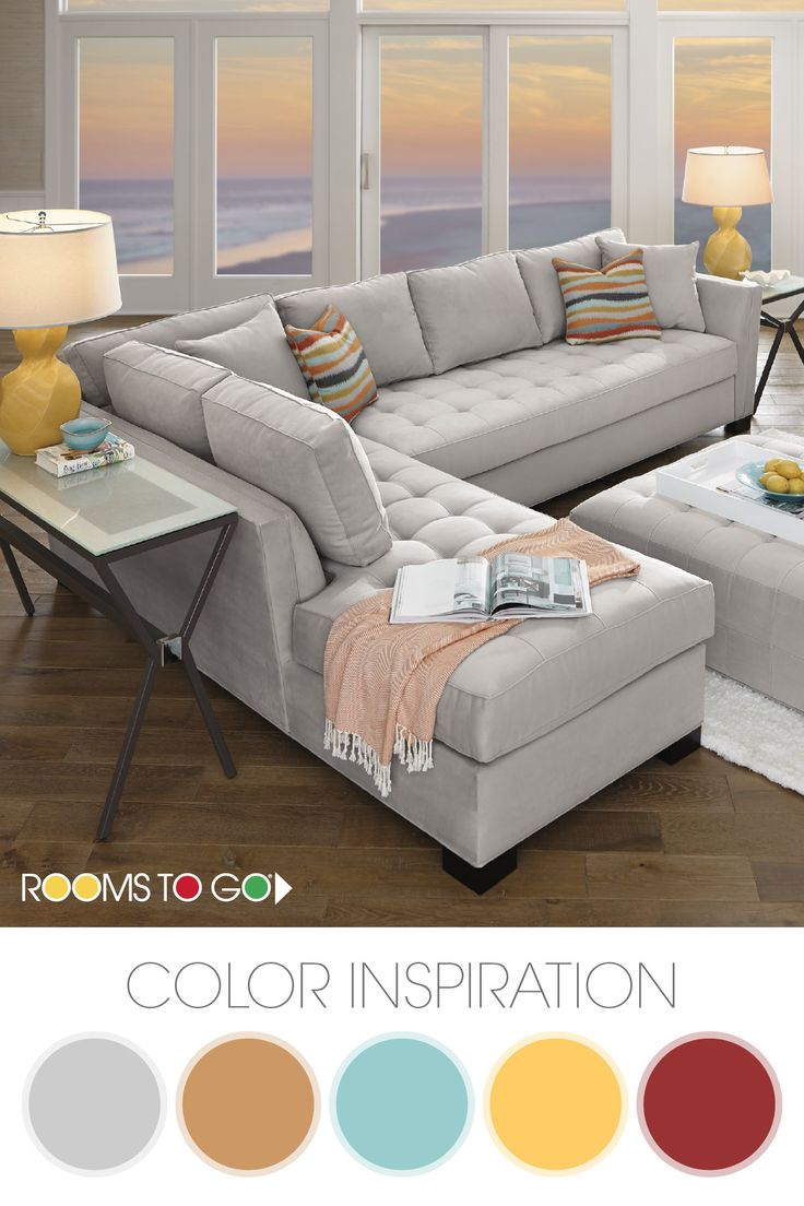 Get some living room color palette inspiration from our Calvin Heights sectional set. The bold platinum of the sectional lends fantastic eye appeal while the free-flowing wave pattern on the pillows and chair are bold and add character. This living room style brings a classic contemporary feel that has just the right amount of upscale elegance. Shop this room and find other color palette inspiration now!