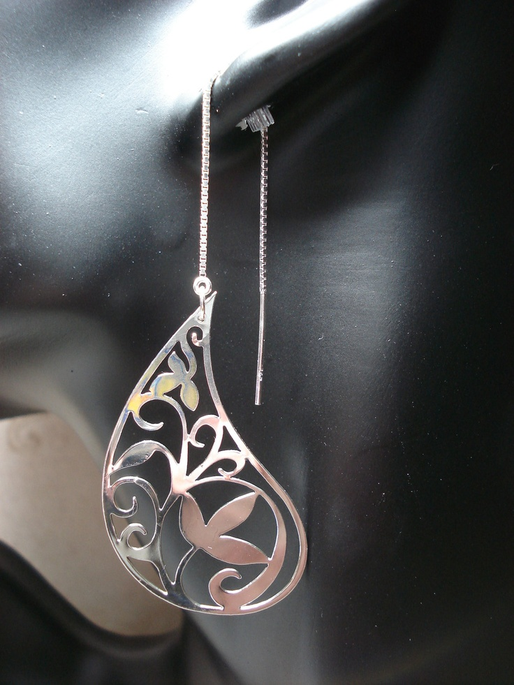 Silver Paisley  Ear Threads-FREE SHIPPING. $14.00, via Etsy.