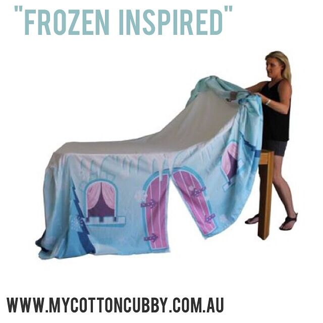 Frozen tabletop cubby. Simply throw over a table and let the imaginations run wild. www.mycottoncubby.com.au