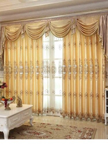 Luxury Jacquard Curtains With Valance Europe Style Voile Curtains For  Bedroom Hotel Curtains Customize V  09 Part 42