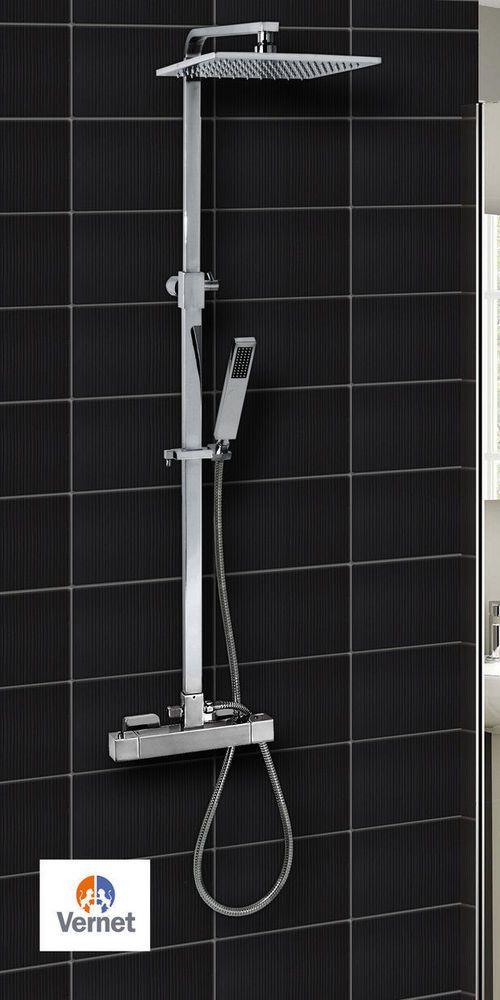 Square Thermostatic Shower Mixer Dual Overhead Shower Head Bathroom Shower Set in Home, Furniture & DIY, Bath, Shower Plumbing | eBay
