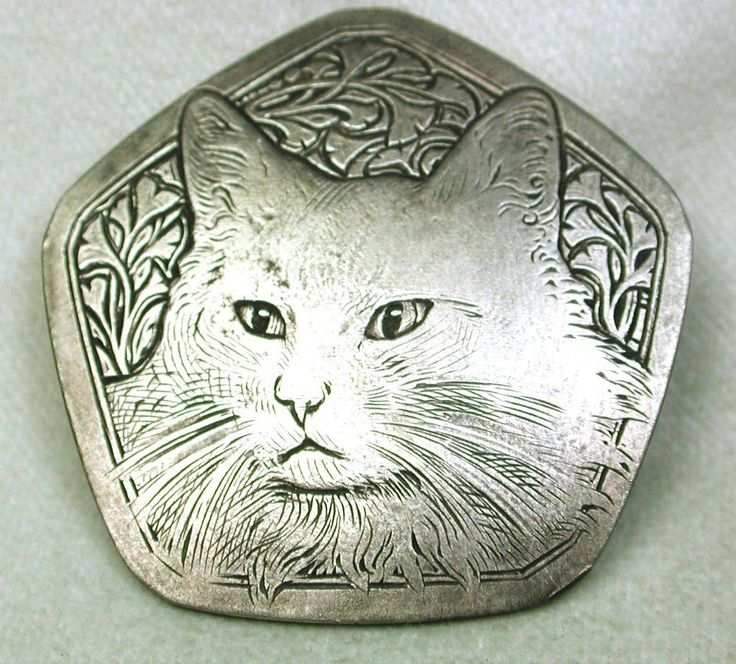 Old French Metal Button Nouveau Cat  Floral Design French metal button. Fabulously detailed image in the Art Nouveau style of a long hair cat.   Very good condition.  Measures 1  5/8 inch.  SOLD $151.49