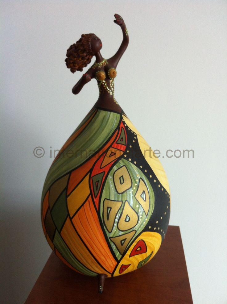 Hand-painted gourd art doll -