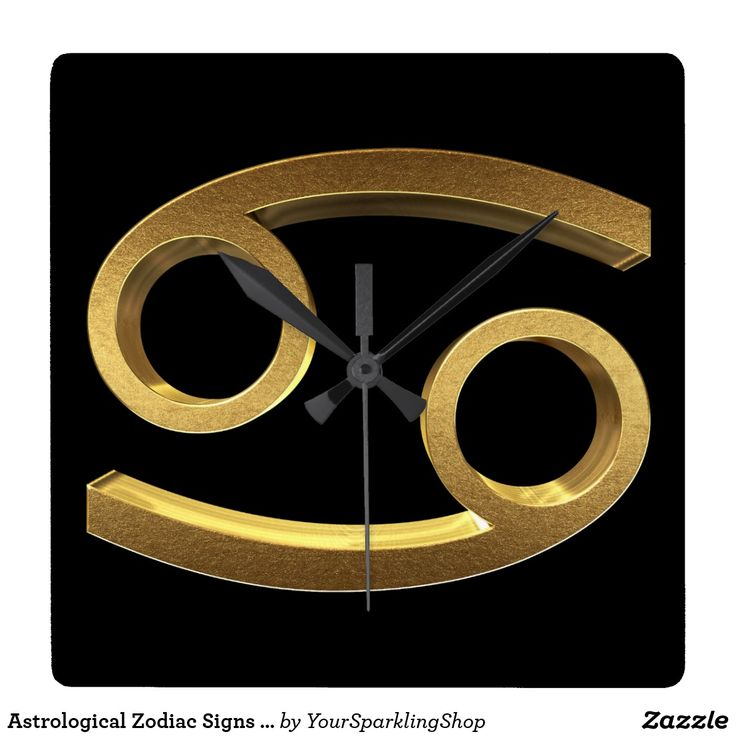Astrological #Zodiac Signs Sign #Cancer #BlackandGold #Clock
