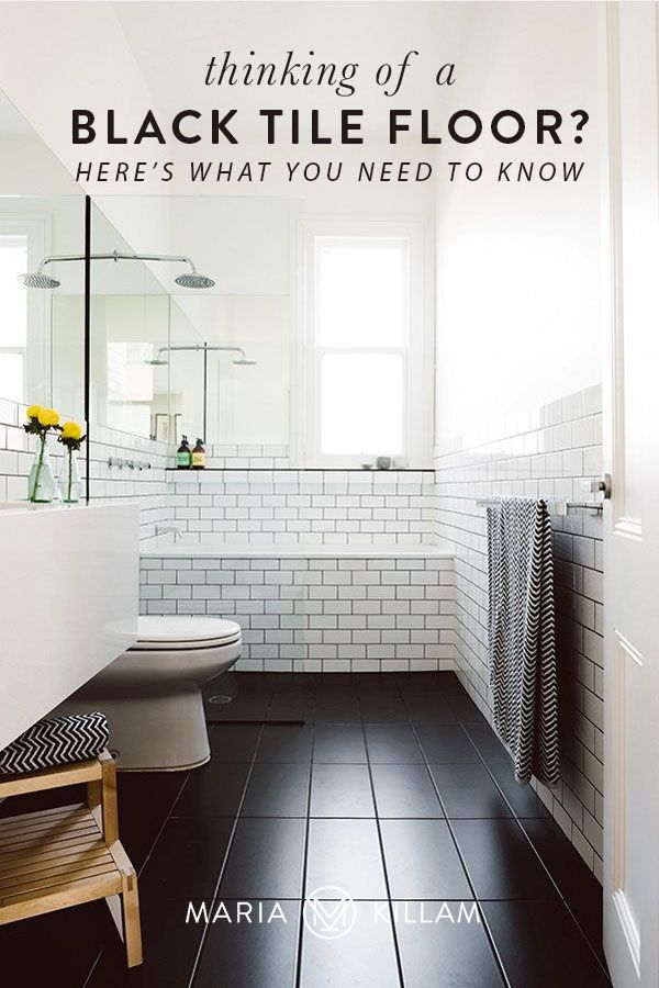 How To Decorate With Black Tile Colour In Tiles In 2020 Black Floor Tiles Black Tiles White Bathroom Designs