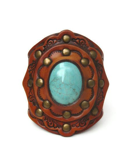 Handcrafted original KKC design leather Boho Turquoise Stone Leather Cuffs! Vegetable tanned leather tooled, aged and riveted for an exquisite masterpiece of leather perfection. Bohemian wide arm piec