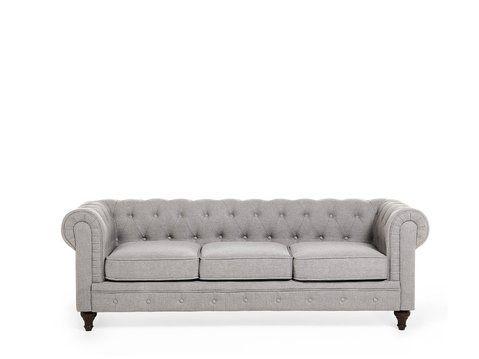 3 Seater Fabric Sofa Light Grey Chesterfield In 2020 Living Room Sofa Fabric Sofa Sofa
