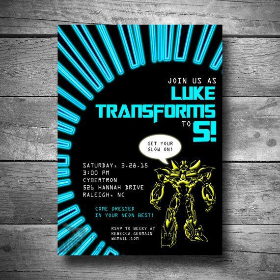 Transformer Birthday Party Invitation, Bumble Bee Transformer Invitation, Printable Boys Birthday Invite