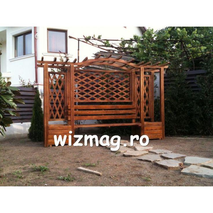 Pergola cu bancuta si arcada din lemn