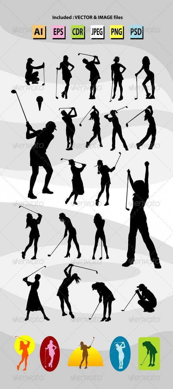 Woman Playing Golf Silhouettes Good Use For Symbol Logo Sticker