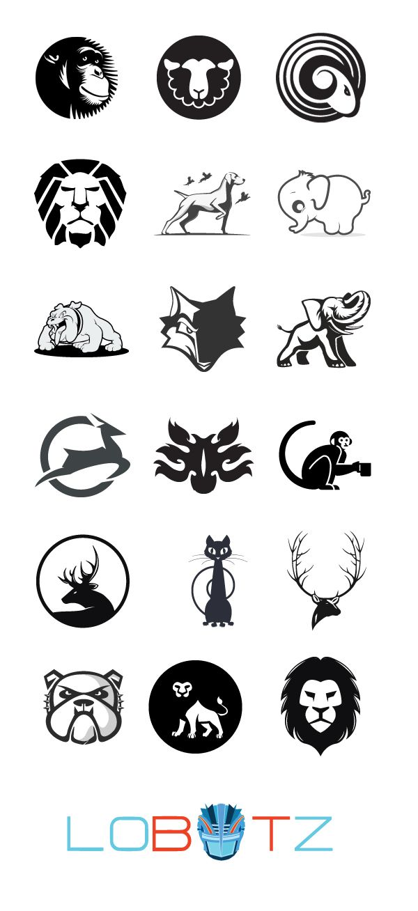 Outstanding Black And White Animal Logos Collection:  In this post there are 18 black and white logos for your inspiration and also for sale here at lobotz.com.   Animal logo collection