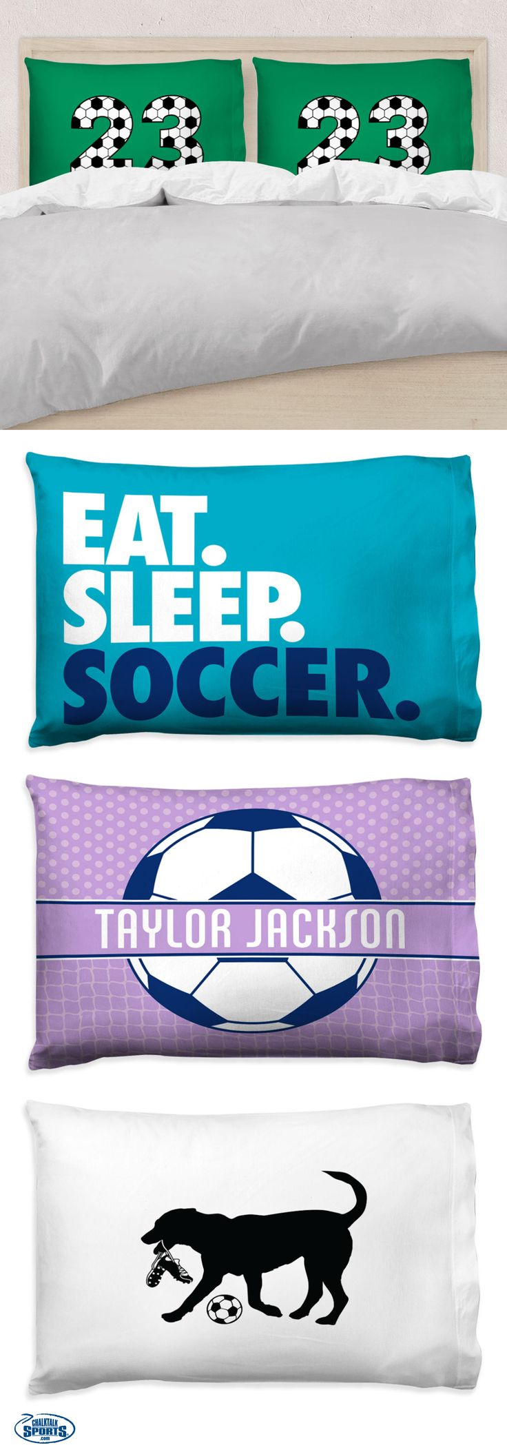 Soccer pillowcases -- the perfect gift for any soccer player! Add a touch of soccer flair to their room -- we know they'll love it!