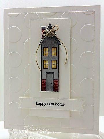 Tuesday, September 16, 2014 ARTfelt Impressions: Holiday Home, Blendabilities, Homemade Holiday framelits, Large Polka Dots TIEF, linen thread, basic metal button