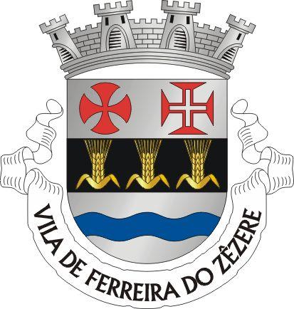 """Heraldry of the World Civic heraldry of Portugal - Brasões dos municípios Portugueses - Escudo de prata, com uma faixa de negro carregada de três espigas de trigo de ouro folhadas do mesmo. Em chefe, as cruzes do Templo e de Cristo de vermelho, e em contra-chefe uma faixa ondada de azul. Coroa mural de quatro torres de prata. Listel branco com a legenda de negro : """" VILA DE FERREIRA DO ZÊZERE """".    on November 20, 1935."""