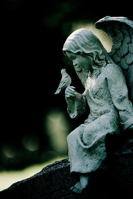 Angel with bird. Creator unknown.