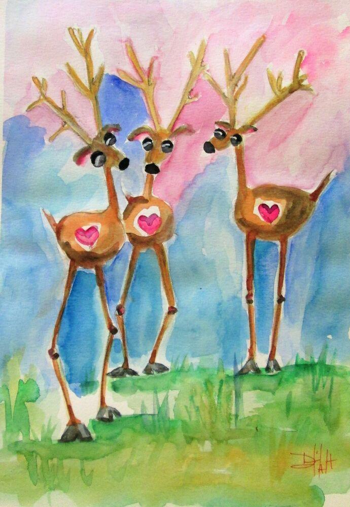 Three Deer Watercolor Whimsical Animal Art Delilah Deer Paintings Deer Deerpaintings 200 00 End Date Saturday Apr 27 2019 Deer Painting Animal Art Art
