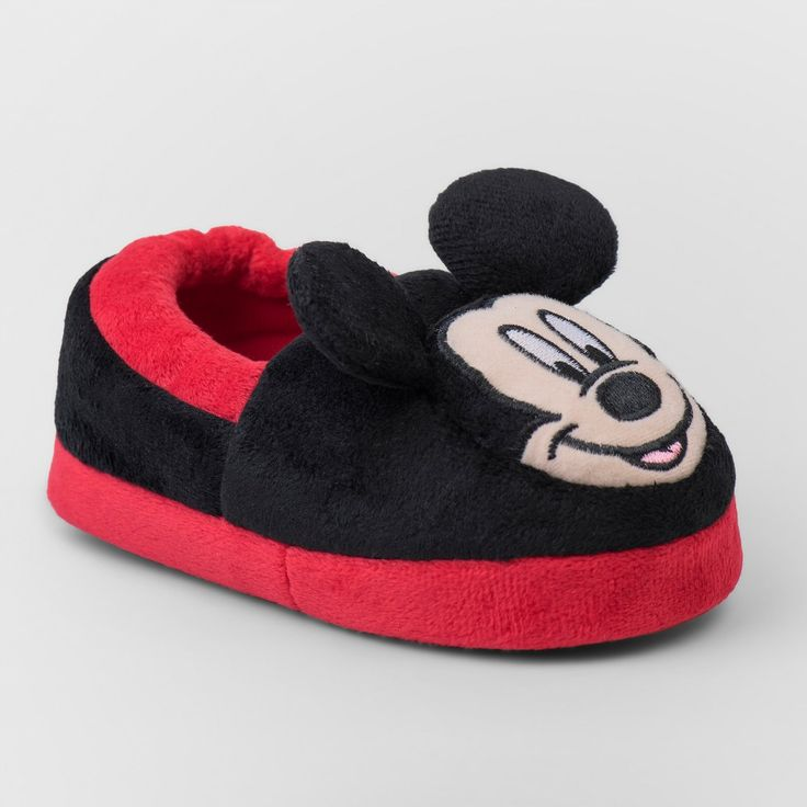 Toddler Boys' Disney Mickey Mouse Slippers - Red XL(11-12), Size: XL (11-12)