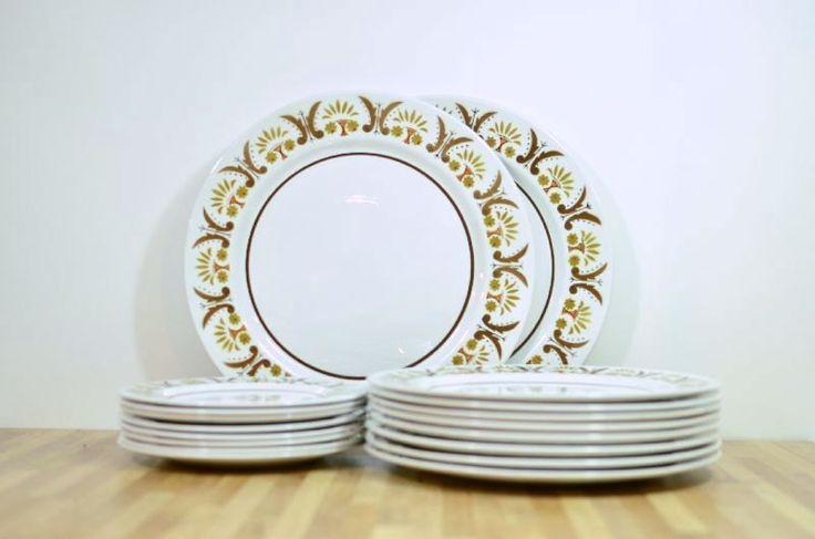 Mikasa Rick Rack Midcentury Dinnerware Set Serving for Eight Bonus Chop Platters by VintageRescuer on Etsy