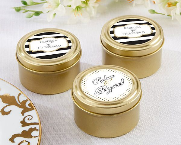 (Set of 12)  Personalised Gold Round Candy Tins - Classic | http://www.weddingfavoursaustralia.com.au/products/set-of-12-personalised-gold-round-candy-tins-classic
