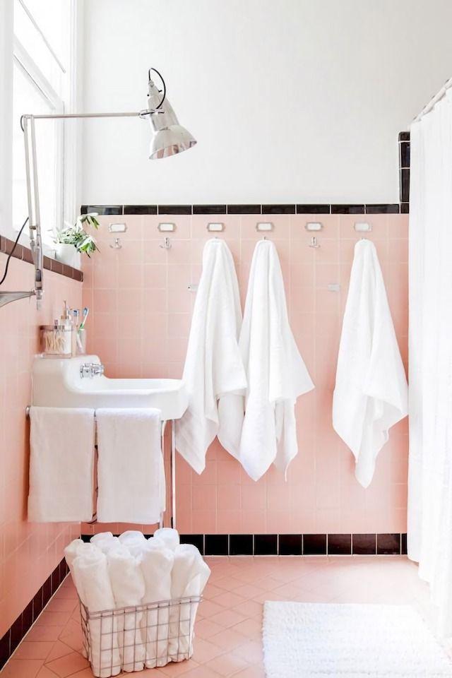 Pink bathroom tile | Image via French by Design Blog