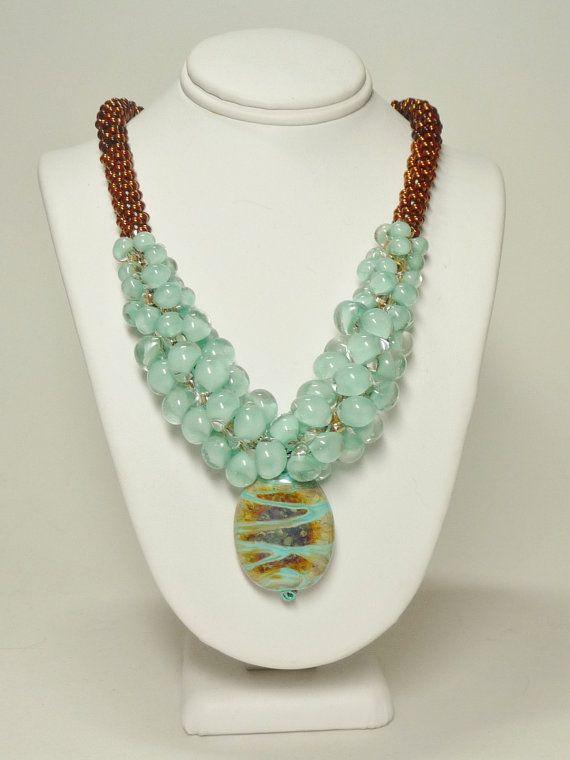 Bronze/Aqua Kumihimo Necklace