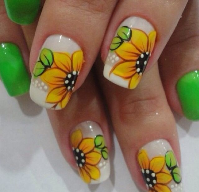 88 Amazing Sunflower Nail Art Design For This Summer 2017 | Amazing Accent  Nails | Pinterest | Sunflower nails, Sunflowers and Nail nail. - 88 Amazing Sunflower Nail Art Design For This Summer 2017 Amazing