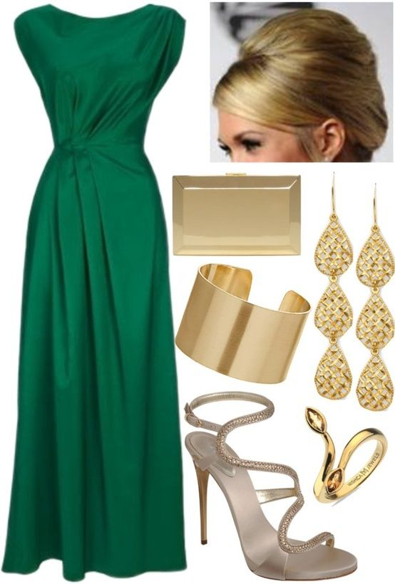 emerald green dress .. but shorter cos i am too little to wear long dresses