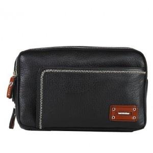 Designer Black Leather Business Men Clutch Wrist Bag With Zipper - Men Bags - handbag shop