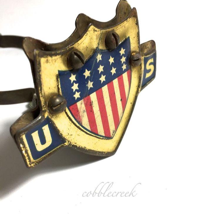 #Antique #Flag Holder #Auto Radiator US #Patriotic Shield #Stars S#tripes #Vtg Annin #Annin #car #automobilia