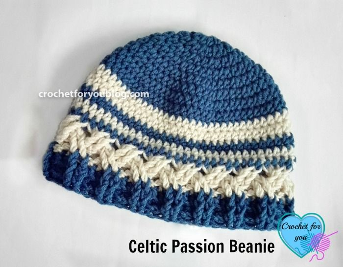 This beanie pattern has a great texture with Celtic weave crochet, crochet ribbing. Pattern available in 4 sizes child, teen, adult women, and men.
