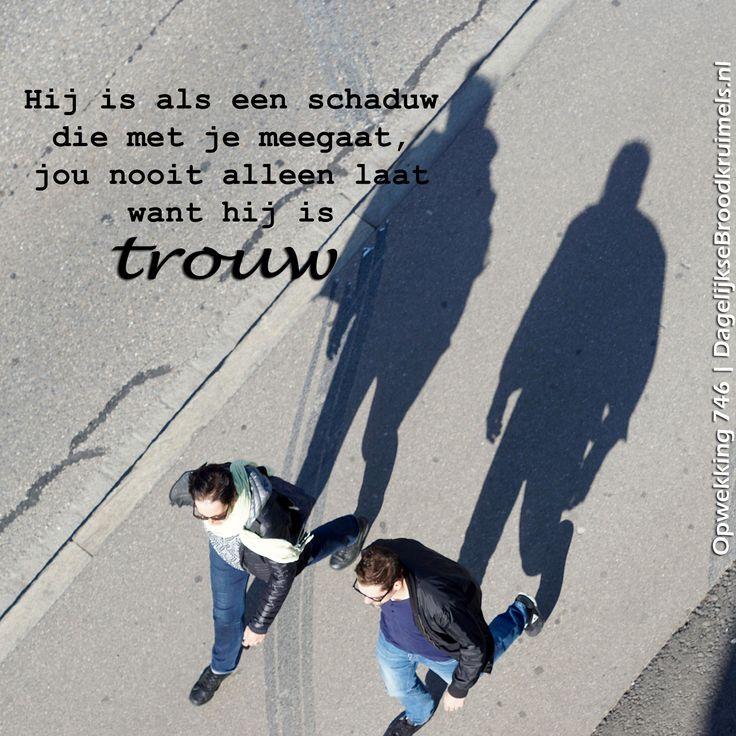 Hij is als een schaduw die met je meegaat, jou  nooit alleen laat, want hij is trouw. Opwekking 746 #Opwekking, #Trouw  http://www.dagelijksebroodkruimels.nl/opwekking-746/